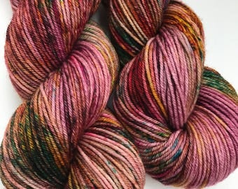 Sippi Hippie- Hand dyed yarn, DK weight, Superwash Merino, 250 yards, Speckled Yarn
