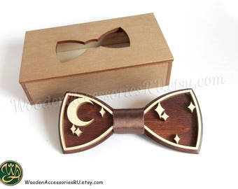 Wood bow tie Night sky stars moon wooden bowtie