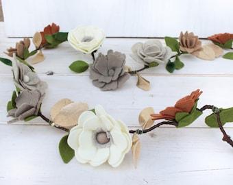 Felt Flower Garland, Vine, Neutral Colors, Felt Flowers, Flower Garland, Photo Prop, Newborn Photo Prop, Felt Garland,