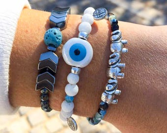 Evil Eye Bracelet, White Bracelet, Evil Eye Charm, Arrows Bracelet, Evil Eye Jewelry, Elephants Bracelet, Women's Jewelry, Gift for Women.