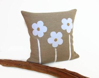 Housse de coussin en lin de style champêtre - décoration champêtre en lin gris et blanc par Pleasant Home
