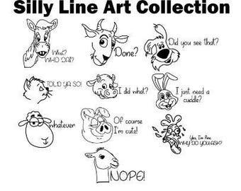 Silly animal line art bundle svg / line art cat svg / cartoon dog svg / cartoon bundle svg / eps/ png / dxf / line art printable / clipart