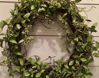 Round wreath, greenery wreath, grapevine wreath, door wreath, rustic wreath, farmhouse wreath, rustic decor, year round wreath, berry wreath