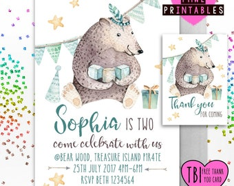 Tribal bear boho style printable party invite with Free Thank you card , 1st birthday , 2nd , 3rd , 4th , 5th , invitation , baby shower