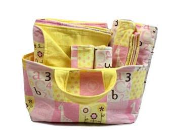 Baby Girl Baby Shower Gift Basket - Animals Baby Gift Set - Fabric Basket - Changing Pad - Newborn Baby Blanket - Burp Cloth Set