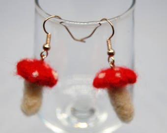 Small Needle Felted Toadstool Earrings