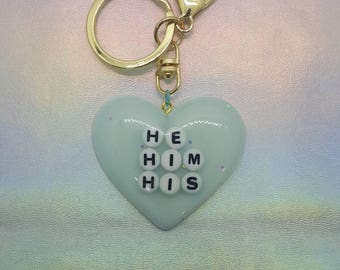 Gender Pronoun - He/Him/His Heart Keychain
