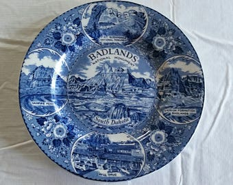 "vintage badlands south dakota national monument collector plate 9 7/8"" by staffordshire ware of england - mt rushmore sturgis vampire art"