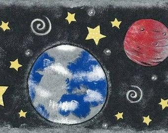 Green Earth Universe Planets Wallpaper Border 76817 NGB