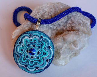 Polymer clay pendant, winter gift wife unusual, gifts for women, Trendy necklaces, elegant beaded necklaces, winter gift wife, unusual gifts