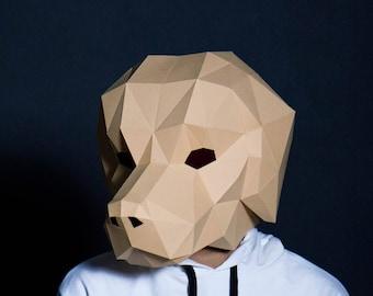 Labrador Mask ,Dog Mask, Stag mask, printable ,DIY ,PDF template, Party Mask, Papercraft Halloween mask