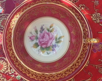 Stunning Red and Gold Aynsley Teacup and Saucer