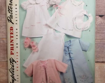Simplicity 2900 Babies' Layette & Bonnet Sewing Pattern; Vintage '52 Reproduction, Infants XXS, XS, S, M, L; Baby Bib, Booties; Embroidery