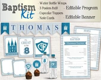 Baptism Boy Kit, Editable LDS Baptism Program, Cupcake Toppers, Water Bottle Wraps, Note Card, Poster Baptism, Instant Download, banner