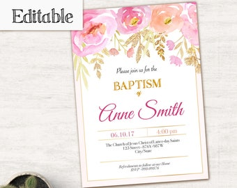 Baptism Invitation Girl, Editable PDF,  Pink Gold, Instant Download, Girl Invitation pink flowers, LDS Baptism Invite, No Photo Needed