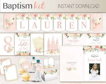 Baptism Girl Kit, Editable LDS Baptism Program, Cupcake Toppers, Water Bottle Wraps, Note Card, Poster Baptism, banner, peach flowers