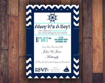 Baby Shower Invitation Ahoy It's A Boy Chevron