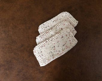 Hand Knit Washcloths- Set of 3