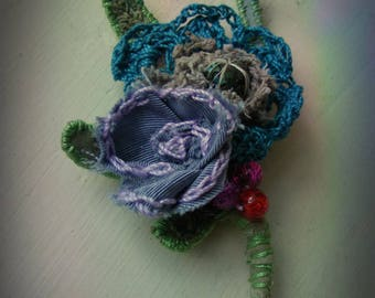 shabby chic textile floral corsage pin brooch