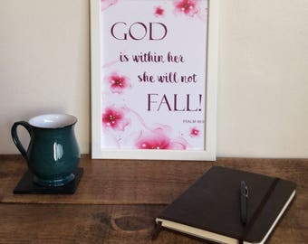 Framed Poster - God is within her she will not fall!