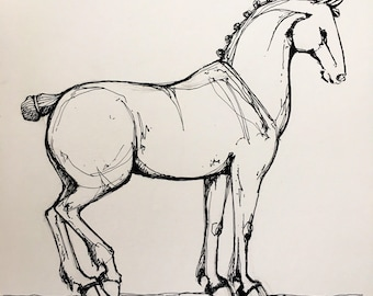 Draft horse pen and ink line drawing