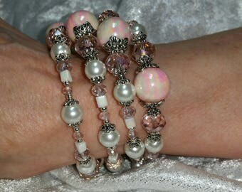 Pretty in Pink crystal wrap memory wire bracelet.