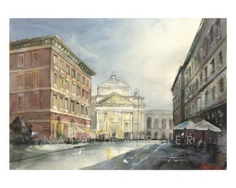 Warsaw - Old Town - St Anna church - Miodowa Street - watercolor/watercolor print