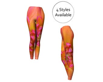 Orange Printed Leggings, Capris or Long, Floral Womens Fashion, For Yoga Exercise Workout, XS S M L XL Leggins Tights, Stretch Spandex Pants