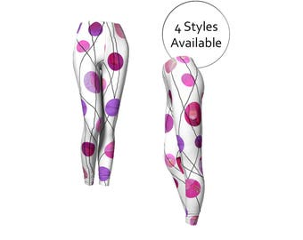 Pink Leggings, Polka Dots Print, Long or Capris, Yoga Clothes, XS S M L XL, Sport Exercise Leggins Tights, Stretch Skinny Pants, Purple