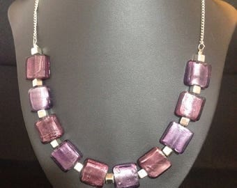 Stunning pink and mauve stone necklace & bracelet set
