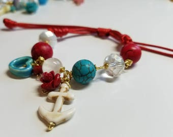 Anchor bracelet in red cord