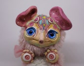 """Soft pink lil Elephant – cute magical creature. Artist made doll, 4"""", OOAK, natural clay. OlVik Dolls. Fast shipping from Ukraine"""