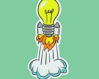 Light Bulb Rocket Vinyl Sticker Decal Rocket Science Geek Nerd Gift Present