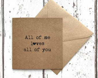 Boyfriend card, girlfriend card, card for him, love card, valentines card, quote card, best friend card, best friend, uk sellers only