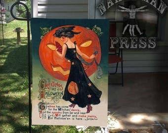 Garden Flag, Victorian Halloween Card, Lady with Pumpkin