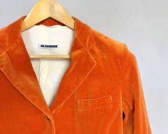 JIL SANDER • cupro - cotton blazer • M • vintage • 90s • orange