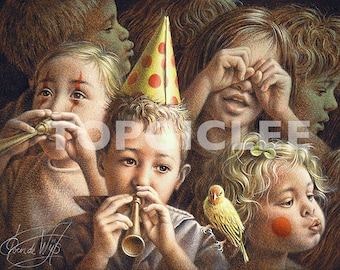 Kinderfeest 2 - Meester Print voor Kinderkamer, Print van Acrylicverf - Master Print created from Acrylic Painting Art, Childrens Party 2