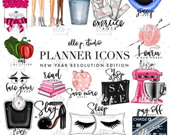 New years resolution etsy new years resolution planner icons fourth editionplanner clipart bundle 44 files total voltagebd