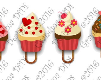 Digital Planner Clips, Valentine Cupcakes 2