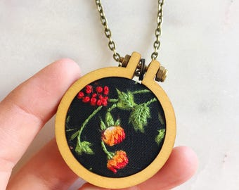 Black flower pendant, flower embroidery necklace, flower pendant, flower charm, embroidery hoop necklace, gift for her, embroidery designs