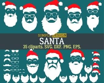 Hipster Santa SVG, Santa Clipart,Santa SVG, Christmas SVG, Santa beard clipart, Santa hat clipart, Hipster santa clipart, Santa
