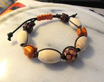 Wooden shamballa bracelet wooden bead bracelet boho bracelet tribal bracelet hippie bracelet natural wood chunky wooden bead macrame gift.