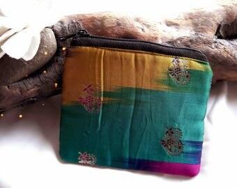 Multicolor silk clutch