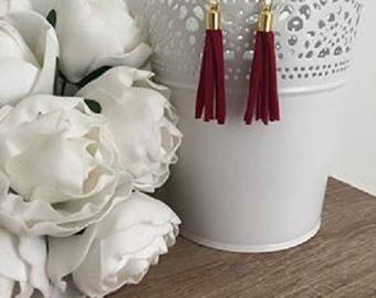 Red suede and Silvia gold earrings