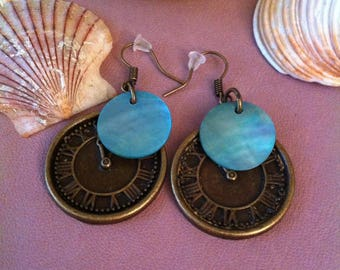 1 pair of earrings dangling clock blue tassel