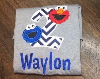 Elmo Birthday Shirt, Cookie Monster Birthday Shirt, Birthday Shirt for Boys, 2nd Birthday Shirt, Sesame Street Birthday Party,