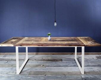 Dining table white, lumber, Erik 1 - flower plates