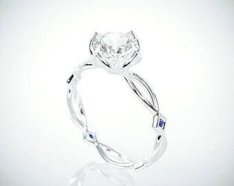 SALE! 14K White Gold Moissanite and Blue Sapphire Engagement Ring  | 14k white gold Forever One Mossanite and Blue Sapphire engagement ring