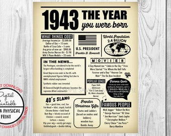 75 Years Ago The Year You Were Born, 75th Birthday Poster Sign, Back in 1943 Newspaper Style Poster, Printable, 1943 Facts, Born in 1943