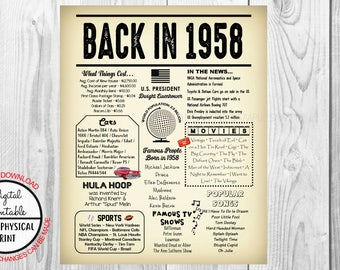 1958 The Year You Were Born, 60th Birthday Poster Sign, Back in 1958 Newspaper Style Poster, Printable, Instant Download, 60 years ago